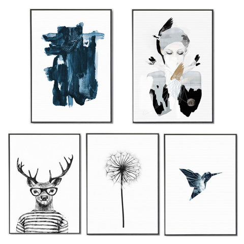 $4.14- Decorative Wall Pictures Watercolor Deer Dandelion Canvas Art Print Poster Nordic Paintings Rural No Frame Posters Home Decor