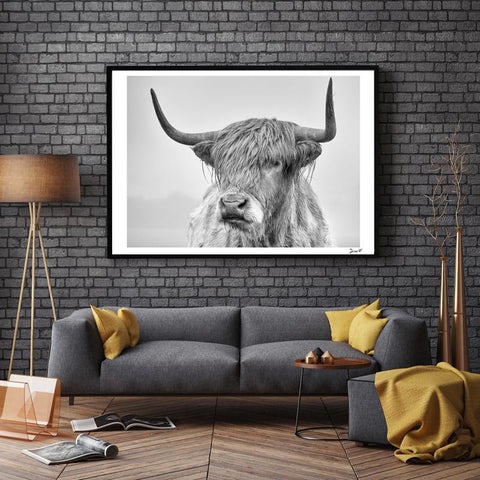 Nordic Portrait Of A Highland Cow Posters Prints Wall Art Canvas Painting Pictures For Living Room Scandinavian Home Decor