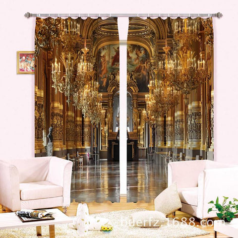 $141.63- Luxury Palace 3D Blackout Window Curtains For Living Room Bedding Room Drapes Cotinas Para Sala Christmas Decorative