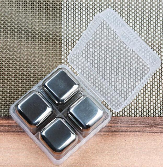 $14.30- 304 Stainless Steel Ice Cubes Bar NonToxic Healthy Cooler Wine Drinks Beverage Whiskey Beer Water Cool Glacier Rock Isotherme