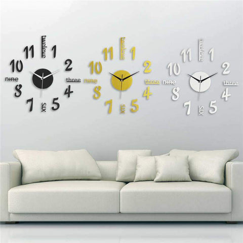 $12.22- Diy Modern 3D Decorative Mirror Acrylic Wall Clock Decoration Living Room Stickers Watch Clocks Decor Black/Gold/Silver