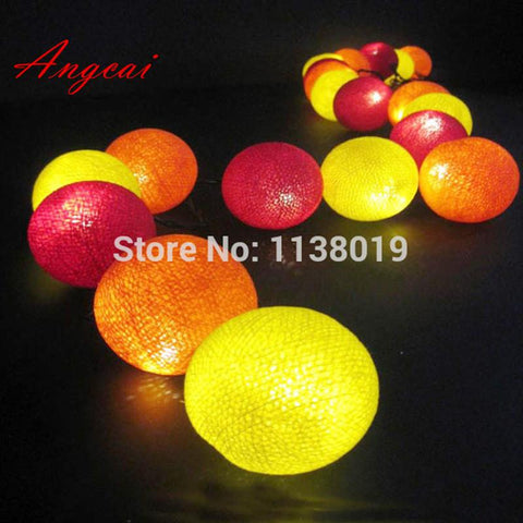 $19.00- New Design Sunset Red Orange Yellow Cotton Ball String Fairy Lights Lanterns Christmas Hallowmas Light