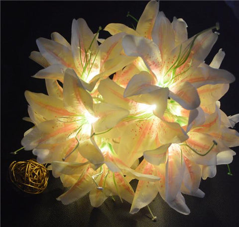 $19.00- Battery Powered Artificial Champagne Lily Flowers Fairy String Lightswedding Party Christmas Garden Valentine'S Day Decor