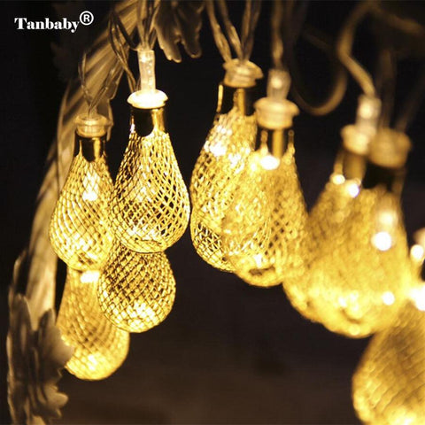 $14.25- Tanbaby Holiday Led String Light 4M 20 Leds Iron Moroccan Water Drop Lantern Ball Fairy String Rope For Home Party Decoration