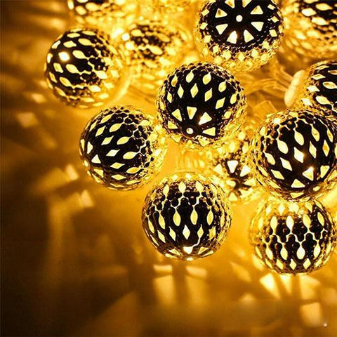 Tanbaby Holiday Led String Light 4M 20 Leds Iron Moroccan Water Drop Lantern Ball Fairy String Rope For Home Party Decoration