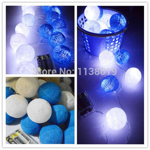$19.00- Battery Operated Led 20Pcs/Set Led BlueWhite Cotton Ball String Lights Fairy Home Bedroom Handmadeweddingchristmas Decor