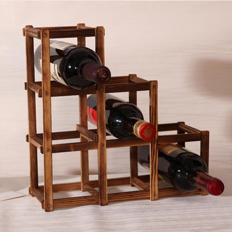 $21.09- Foldable Carbonized 6 Grid Wood Wine Holder Fashion Wine Rack Bar/Home/Restaurant Decor Kitchen Holder Display Shelf Organizer
