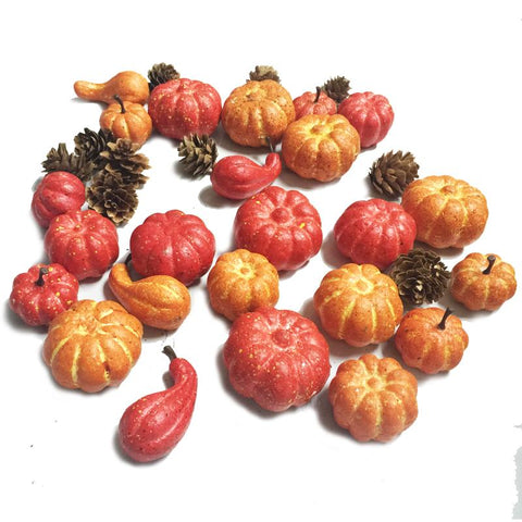 $19.19- 24 Pieces Small Pumpkin Pinecone Set In A Pvc Box For Harvest Thanksgiving Decoration