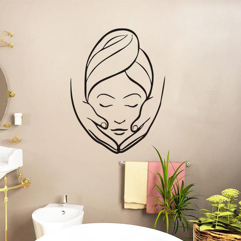 $8.04- Ehome Spa Beauty Salon Wall Stickers Creative Girl Massage Wall Murals Bathroom Wall Decorative Wall Decals Vinyl