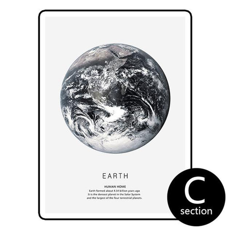 $24.20- Earth Mars Cuadros Nordic Poster Canvas Art Wall Prints Abstract Painting Black White Home Decor 3 Piece For Living Room