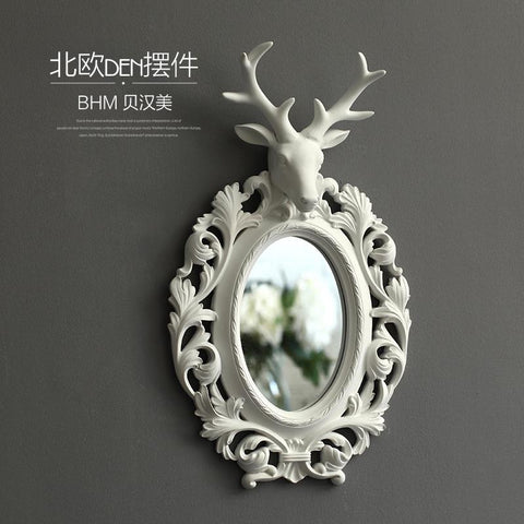 $260.11- Nordic Resin Deer Head Round Wall Mirror Vintage Statue Home Decor Crafts Wall Decoration Resin Animal MakeUp Mirror Figurines