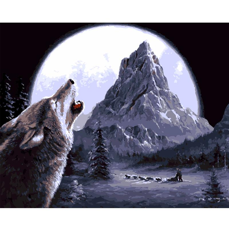 $18.54- Digital Diy Oil Painting By Numbers Landscape Wall Decor Picture On Canvas Oil Paint Coloring By Number Drawing Animals Wolf