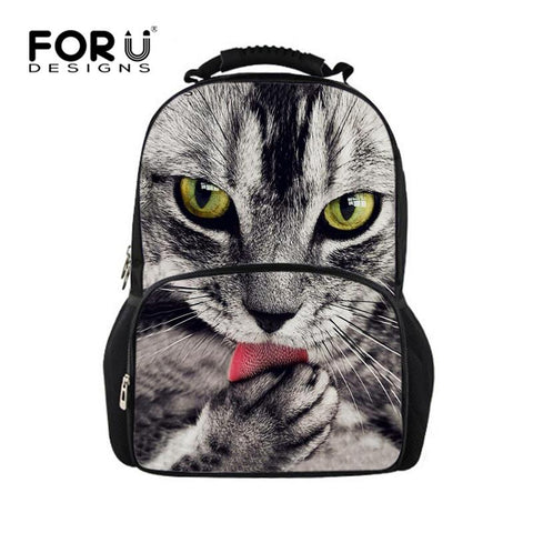 Printing Women Backbag 3D Animal Backpack Cute Cat Owl Tiger Bagpack For Teenager Girls High School Children Student Rucksack