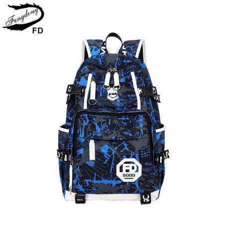 $48.78- Fengdong Blue Waterproof Fabric High School Bags For Boys Large Laptop Backpack Men Travel Bags Male Casual Book Bag Schoolbag