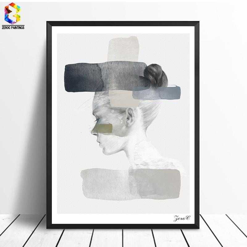 $11.73- Nordic Posters Prints Wall Art Portrait Canvas Painting Pictures For Living Room Scandinavian Home Decor