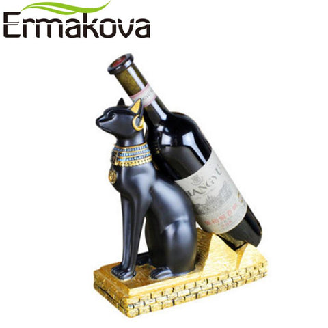 $59.69- Ermakova Resin Egyptian Cat Wine Rack Bestet Wine Bottle Holder Animal Egyptian Goddess Wine Stand Accessories Home Bar Decor