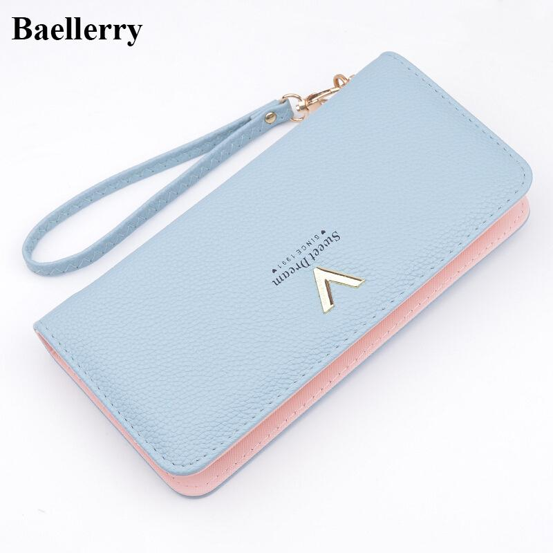 $16.28- Brand Designer Leather Wallets Women Purses Zipper Long Coin Purses Money Bags Card Holders Clutch Wristlet Phone Wallets Female