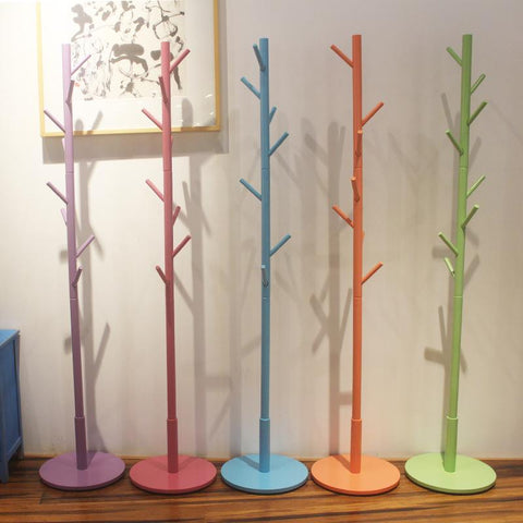 color multicolor 9 hook Modern Solid Wood Living Room Coat Rack Display Stands Scarves Hats Bags Clothes Shelf