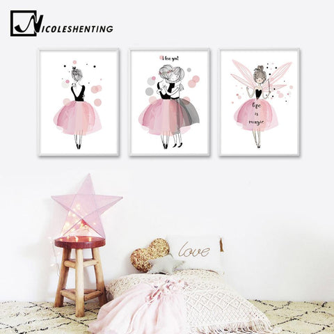 $6.27- Watercolor Kawaii Cartoon Girl Posters Prints Wall Art Canvas Painting Nordic Style Picture For Living Room Home Decor