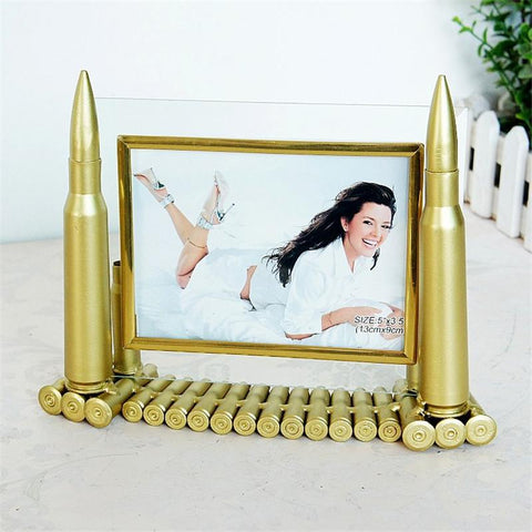 Army Memorial Frame 5 Inch Metal Bullets Picture Frame Artwork Home Desktop Decoration Framework