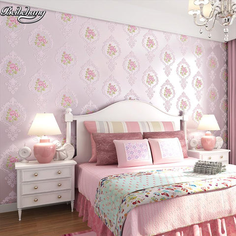 $59.51- Beibehang Personalized Environmental Non Woven Wallpaper Exquisite Carved Embossed Continental Garden Style Bedroom Wallpaper