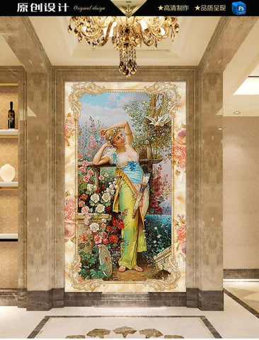 Continental Beautiful Flower Fairy Marble Entrance Large Mural Wallpaper Living Room Bedroom Tv Backdrop Painting Wallpaper