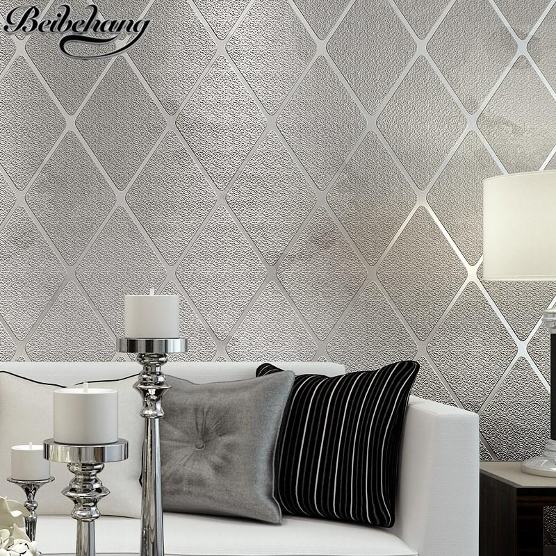 $79.92- Beibehang Modern Simple Bedroom Wallpaper Stereo Living Room Background Wall Relief Wallpaper NonWoven Rhombus Striped Lattice