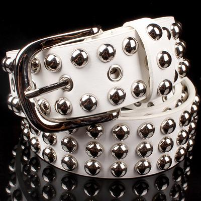 $21.74- Big Metal Rivet Belt Women Round Rivets Spike Sequins Belt Punk Simple Decorative Waistband Belt For Men