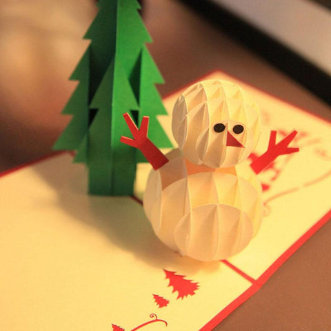 $4.88- 3D Pop Up Greeting Cards Christmas Tree & Snowman Thanksgiving Happy New Year