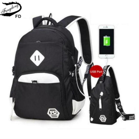 $61.99- Fengdong 2Pcs Black White Usb Port Backpack For Teenagers Men Travel Bags One Shoulder Male Sling Chest Bag Set School Bags
