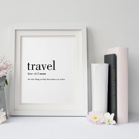 $11.25- Travel Definition Quote Canvas Painting Minimalist Black White Word Poster Print Nordic Wall Art Picture Living Room Home Decor
