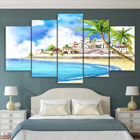 $11.32- HD Printed Poster Wall Art Frame Canvas Pictures 5 Pieces Comic Tropical Coastal Village Painting For Living Room Decor PENGDA