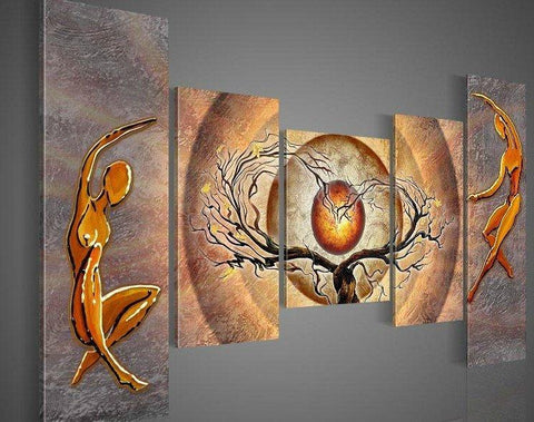 $97.55- WEEN Hand Painted Wall Art Home Decoration Abstract Module Oil painting On Canvas 5pcs Pictures For Living Room Artwork Gift