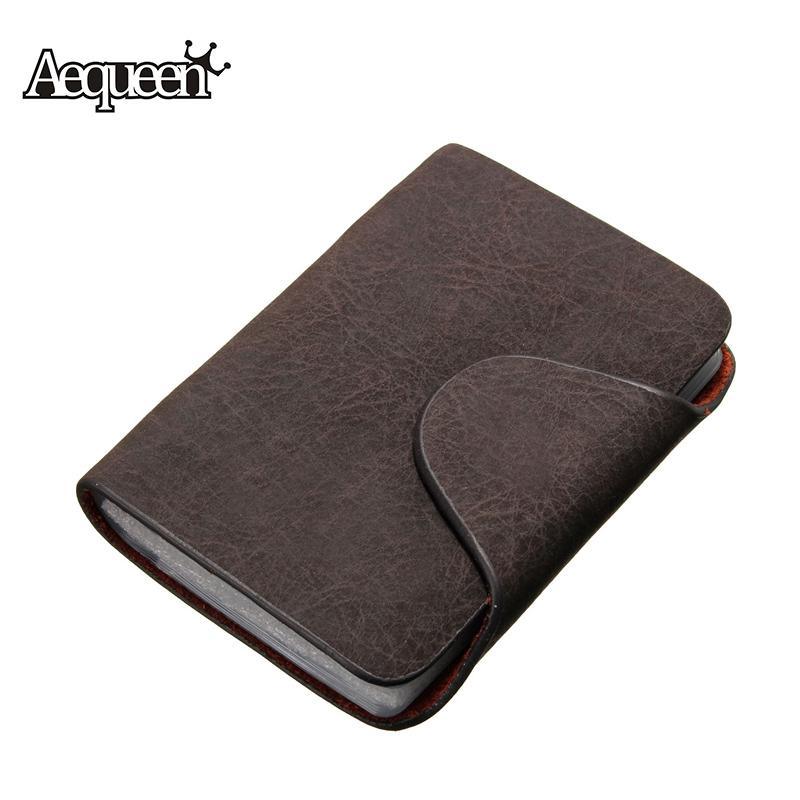 $6.50- Aequeen Business Credit Card Holder Card Wallet Purse Credit Card Unisex Nubuck Pu Leather Wallet Business Package 20 Bits Brown