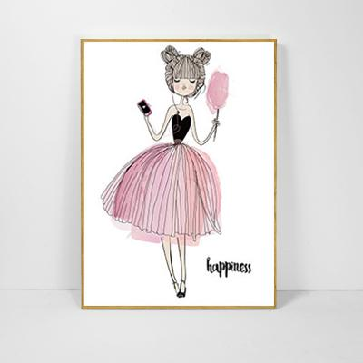 $10.63- Cartoon Girl Cuadros Decoracion Nordic Style Kids Decoration Picture Wall Art Canvas Painting Posters Prints No Poster Frame