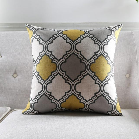 $7.43- Nordic Style Geometric Decorative Sofa Throw Pillowcase Yellow Grey Zebra Floral Printed Cushion Cover Almofadas Cojines