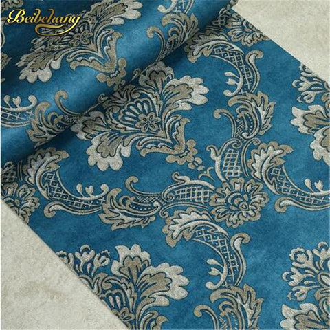 Beibehang Papel De Parede Stereo Non Woven Wallpaper Background Living Room Bedroom Blue Wallpaper Continental Relief Damascus