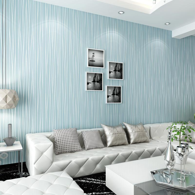 $58.00- Blue Striped Wallpapers For Walls Blue Stripe Wall Paper NonWoven Living Room Wallpaper Stripes Paper Rollpainel De Parede 3D
