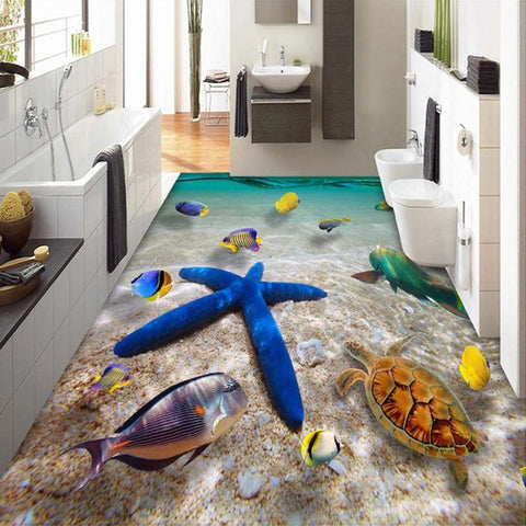 $27.90- Hd Submarine World Starfish Sea Water Photo Mural Wallpaper 3D Floor Tiles Floor Painting Pvc Bathroom Waterproof Wall Paper 3 D