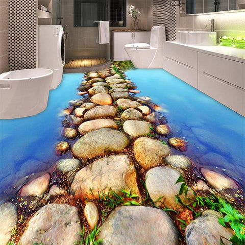 $27.86- Beautiful River Stone Path Restroom Bathroom 3D Flooring Wallpaper Pvc SelfAdhesive Waterproof 3D Floor Tiles Papel De Parede