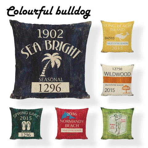 $6.82- Modern Handmade Vintage Shabby Chic Wood Cushion Cover Coastal Poster Pillow Case Beach Haven Linen Decorative Summer Kussenhoes