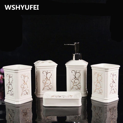 Ceramic Bathroom 5Pcs Sets Of EuropeanStyle Rinse Cup Wedding Set Creative Bathroom Toiletries Soap Dish Toothbrush Holder