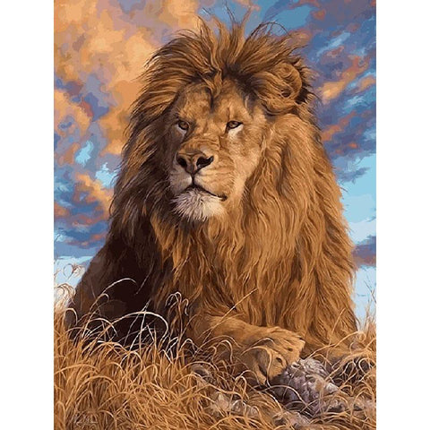 $15.60- Frameless Grassland Lions Animals DIY Painting By Numbers Wall Art Picture Modern Hand Painted Oil Painting Home Decor Artwork
