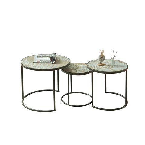 $1062.48- Unique Industrial Simple Wind Modern Metal Round Tea Table Living Room Sets Three Leisure Tea Table Retro Coffee Table
