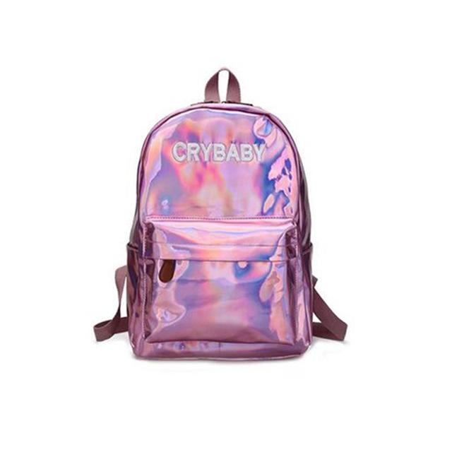 $26.48- Aequeen Holographic Laser Silver Backpack Women Shoulder Bag Laser Hologram Schoolbags Student Rucksack Casual Pack Satchel