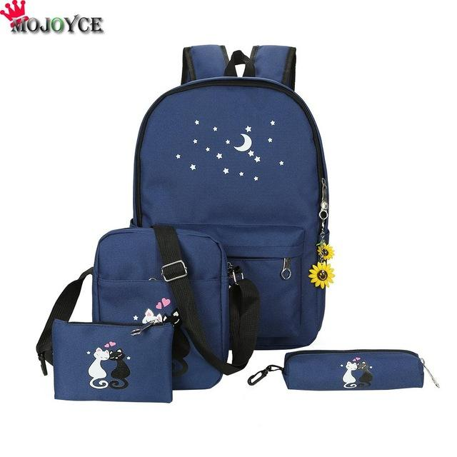 $29.33- 5Pcs/Set Canvas Women Backpacks Schoolbag Printing Cute Cat School Bag Backpack For Teenager Girls Green Rucksack Moclila