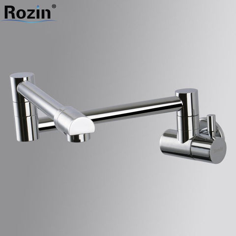 $76.86- Wall Mount Chrome Brass Cold Water Bathroom Kitchen Faucet Single Handle Stretch Folding Kitchen Water Taps