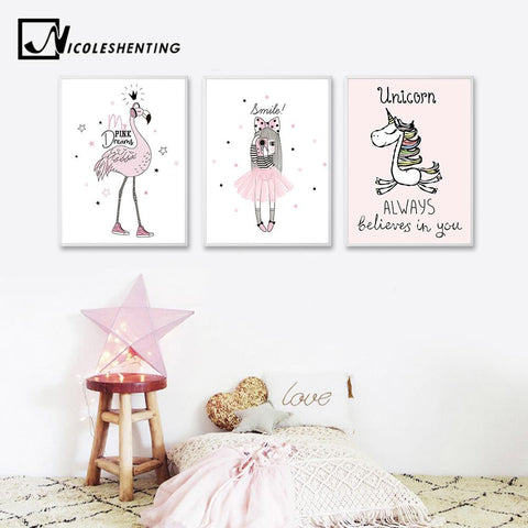 $6.75- Cartoon Girl Unicorn Flamingo Poster Print Wall Art Canvas Painting Nordic Style Nursery Picture For Living Room Home Decor