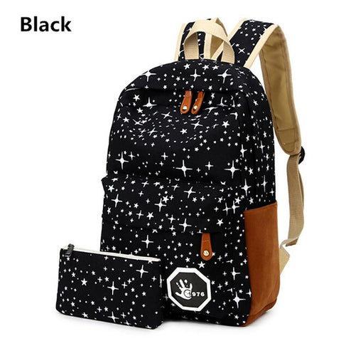$22.10- Women Pokemon Bag For Teenage Girls School Mochila Galaxia Back Pack Canvas Cute Stars Printing Backpack Set For Children