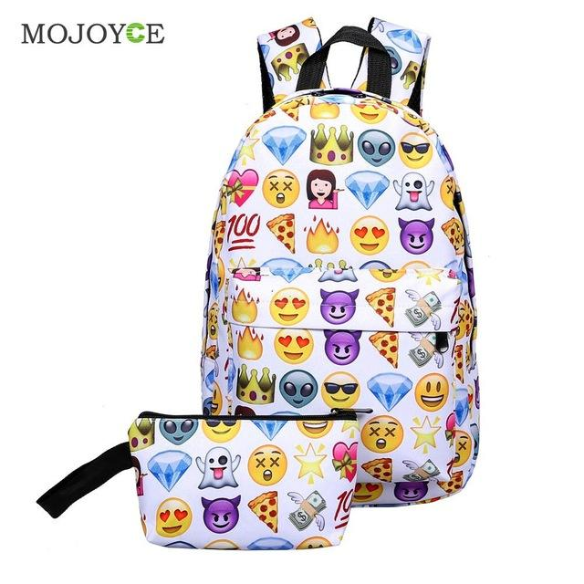 $17.56- 2Pcs Smile Backpack Clutch Women Men Nylon Large Capacity Varies Emotion Casual For Teenager Girls School Bags W/ Wallet